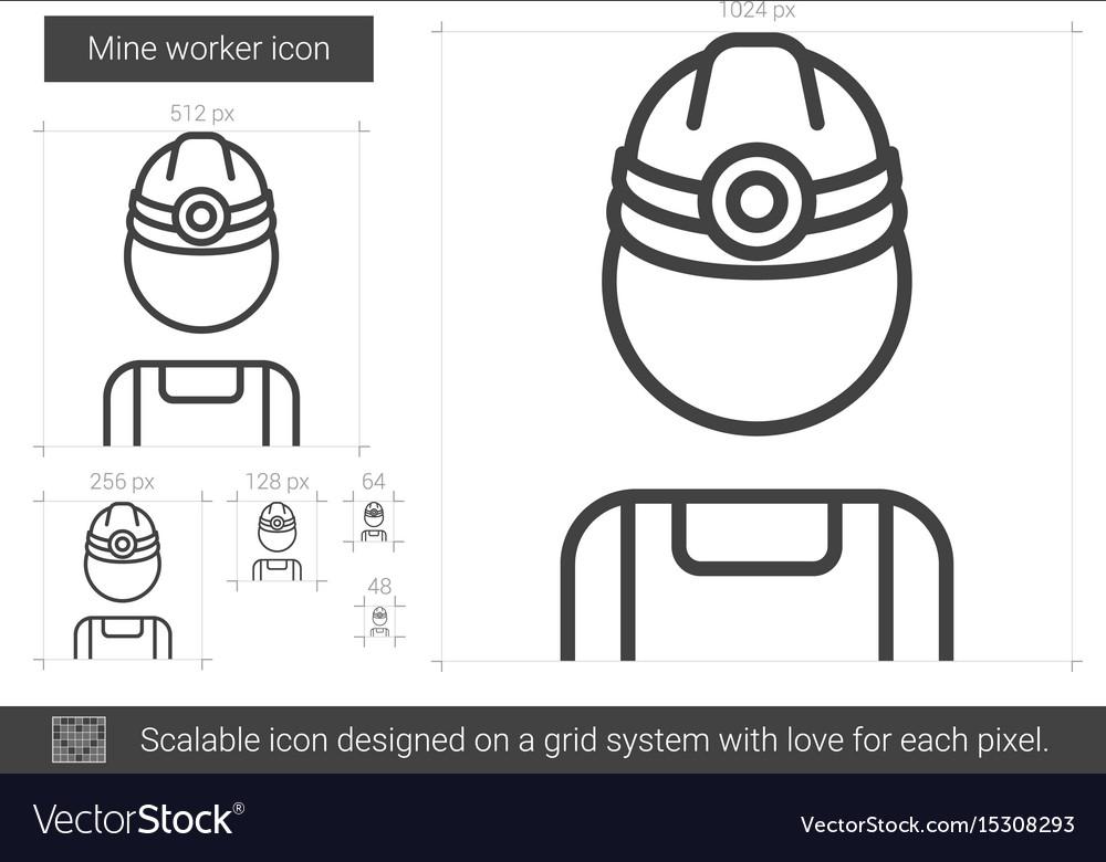 Mine worker line icon