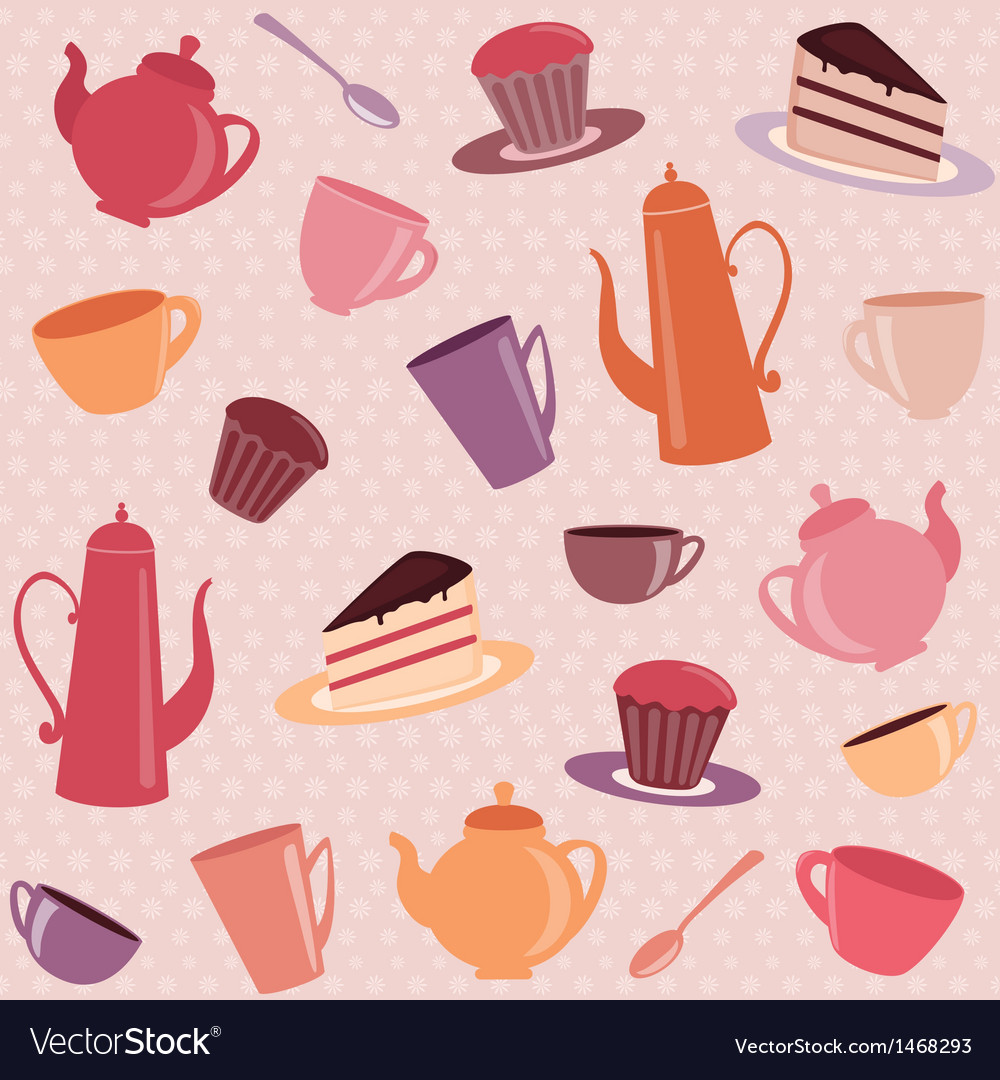 Seamless pattern with tea and coffee items