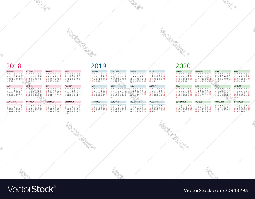 Simple calendar template for 2018 2019 and 2020 Vector Image