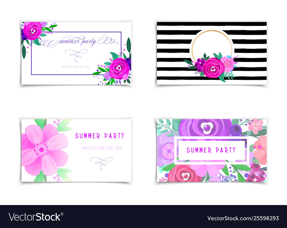 Summer sale banners set decorate with flowers and