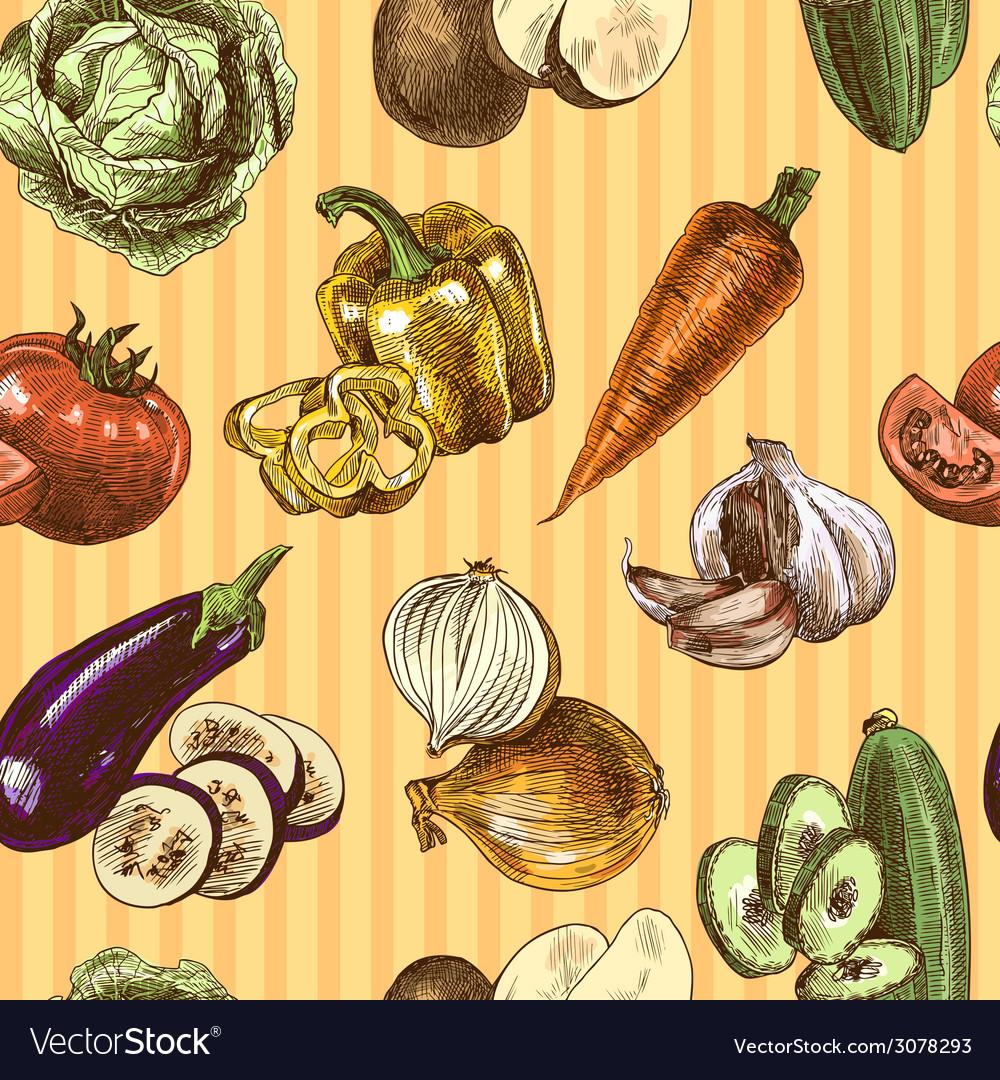 Vegetables sketch color seamless pattern