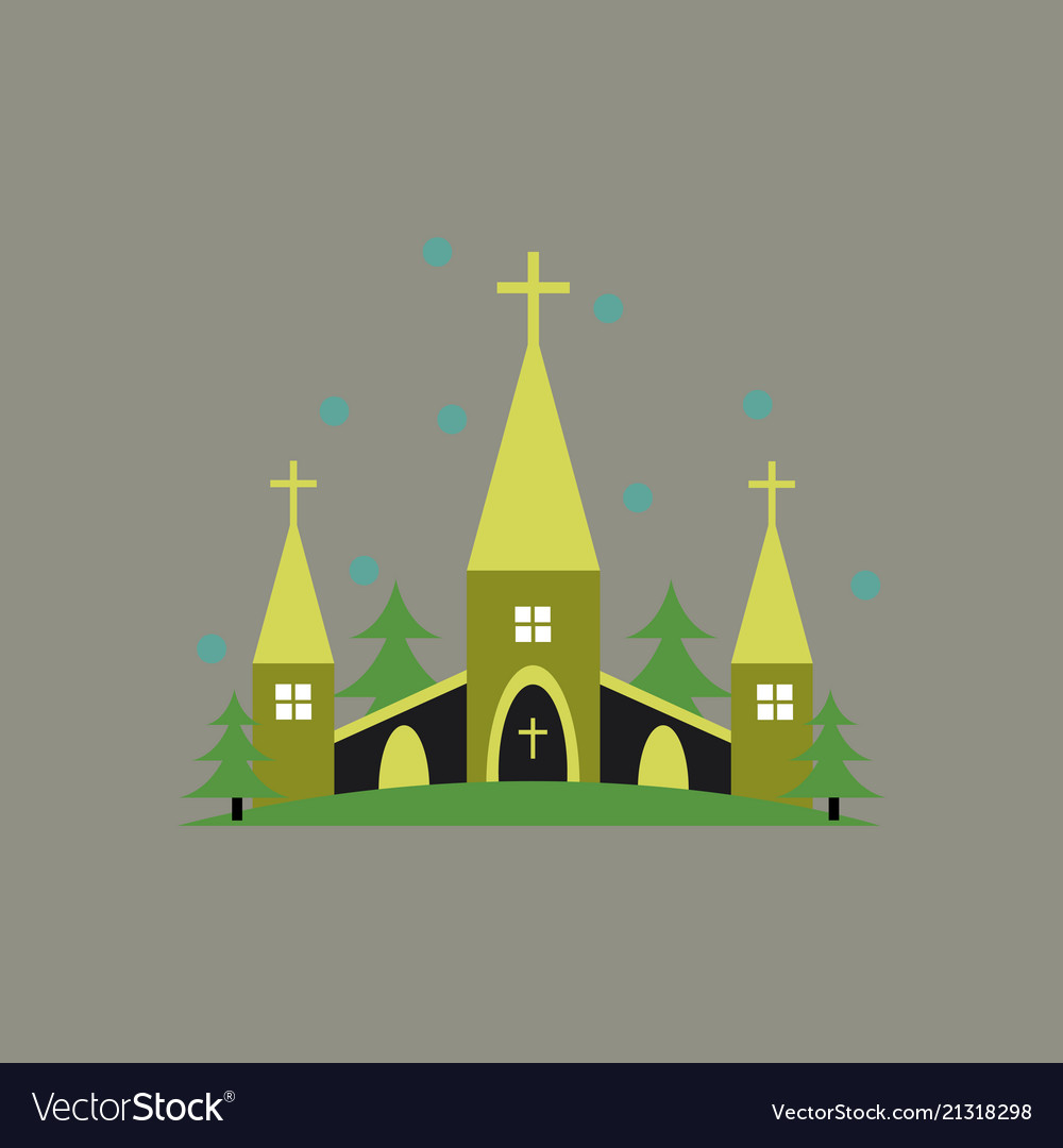 church building icon flat