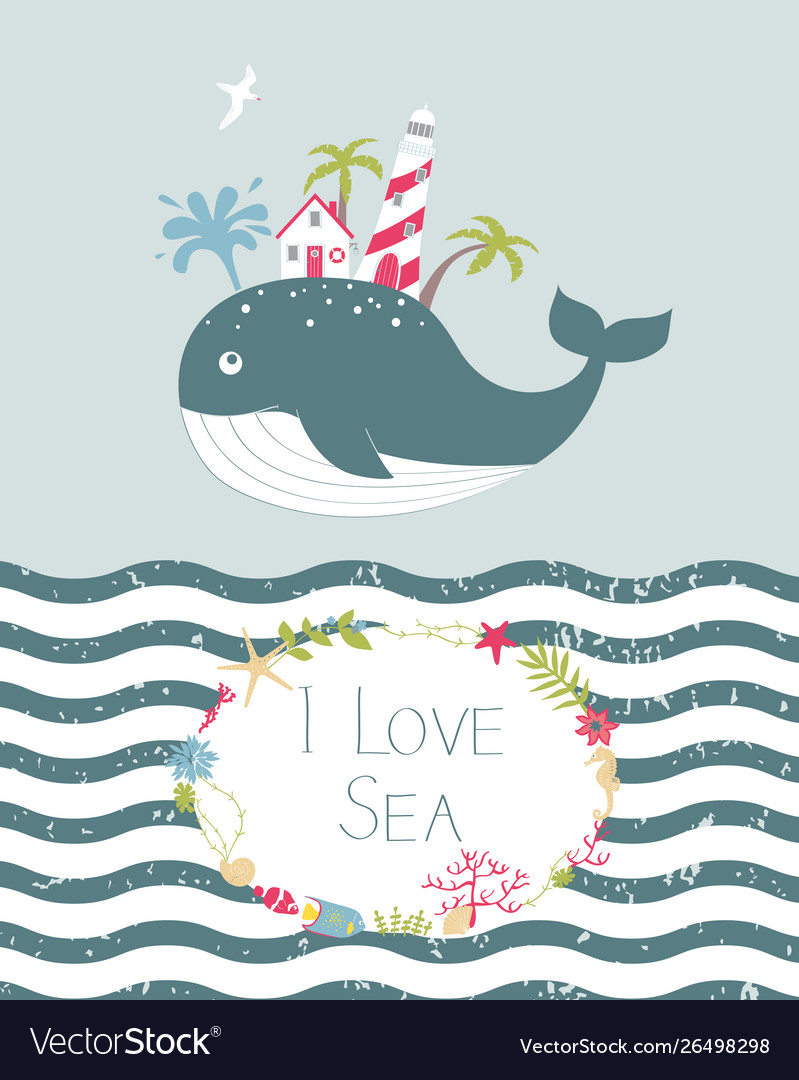 Cute summer card with whale