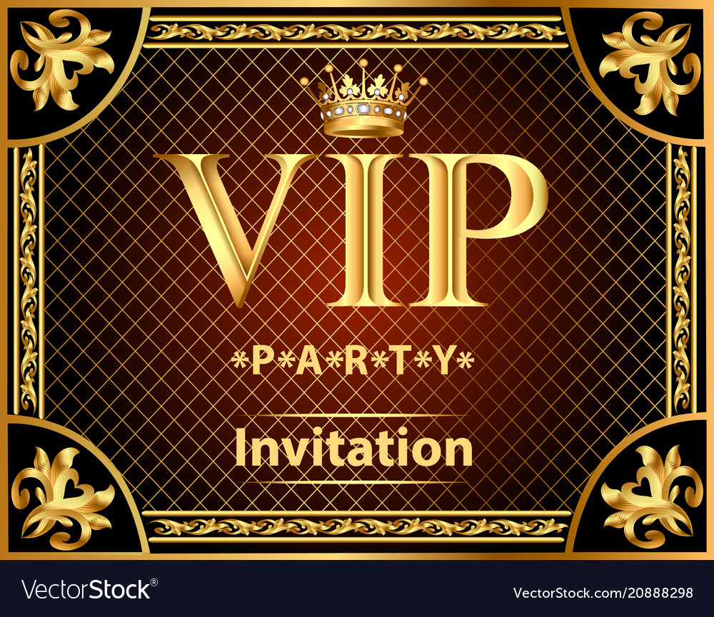 Design invitations to the vip party gold