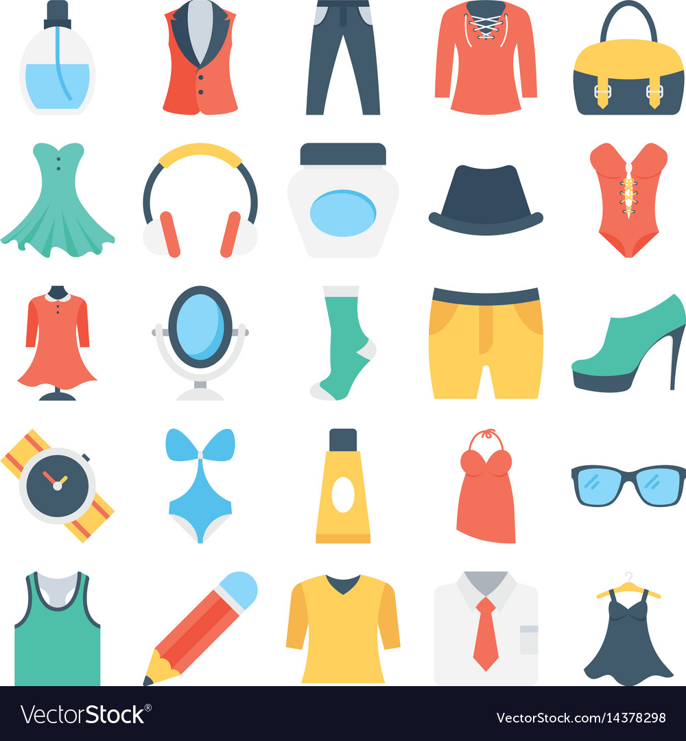 Fashion and clothes colored icons 5