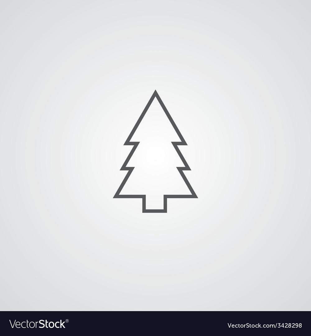 Fir-tree outline symbol dark on white background