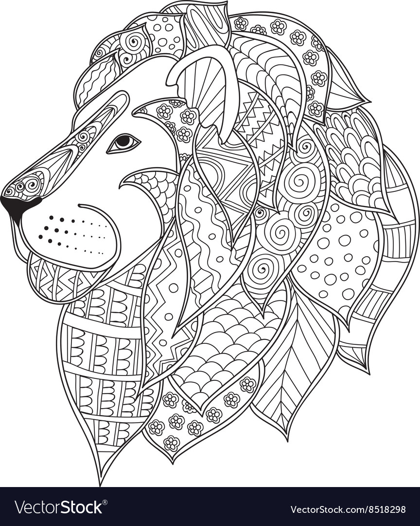 Hand Drawn Ornamental Outline Lion Head Royalty Free Vector The lion is the second biggest cat in the world. vectorstock