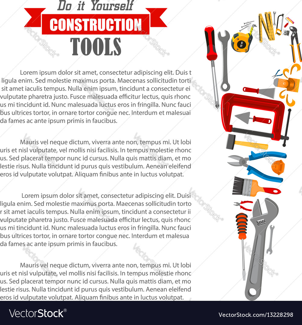 Hand saw with work tool poster for diy design vector image solutioingenieria Gallery