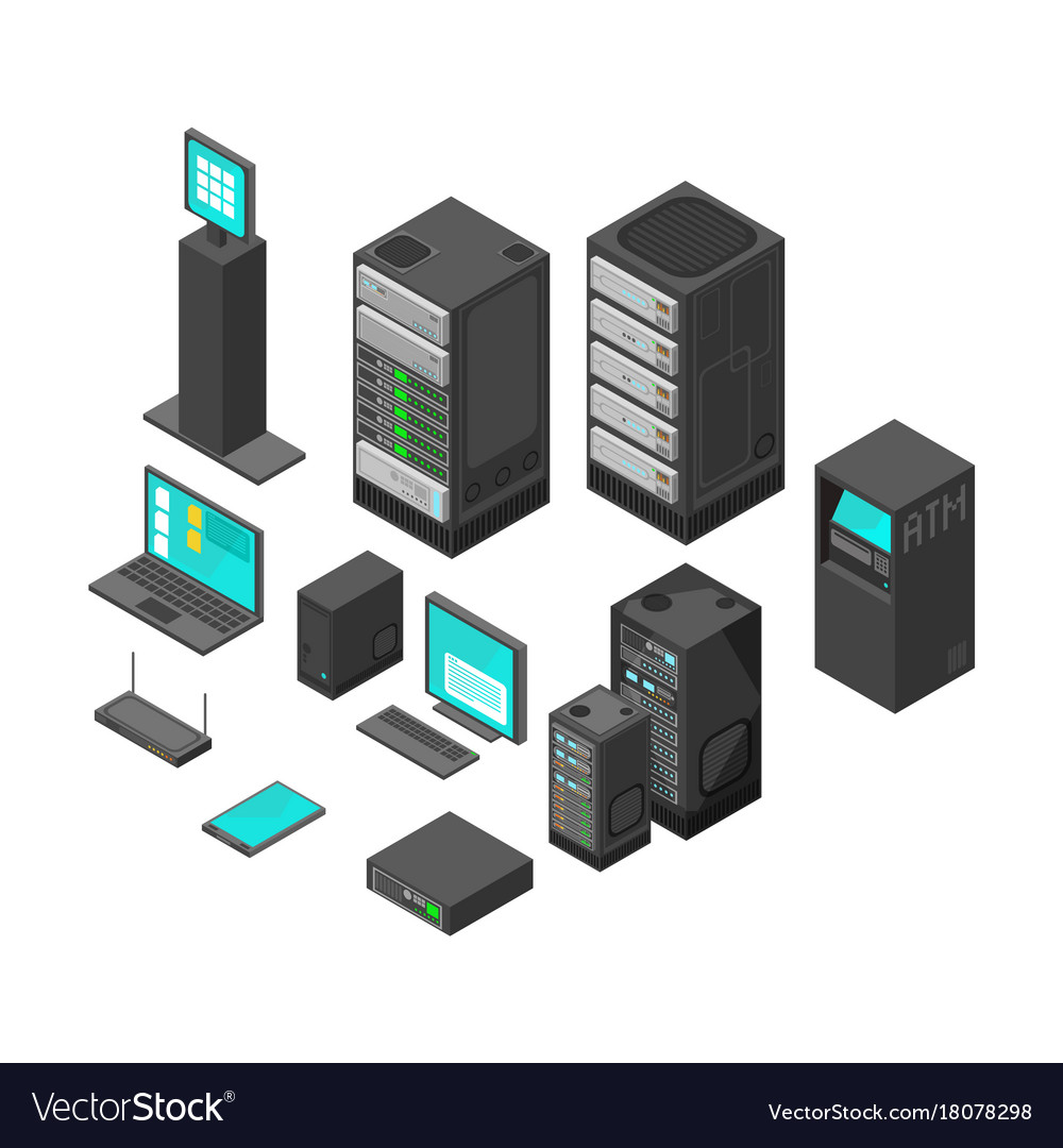 Isometric technology and banking icons flat