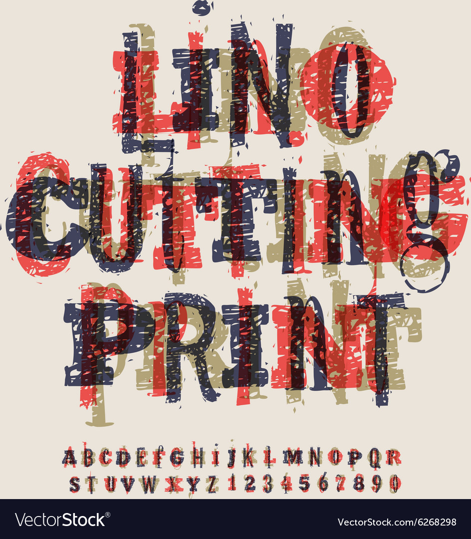 Linocut letters and numbers artistic alphabet