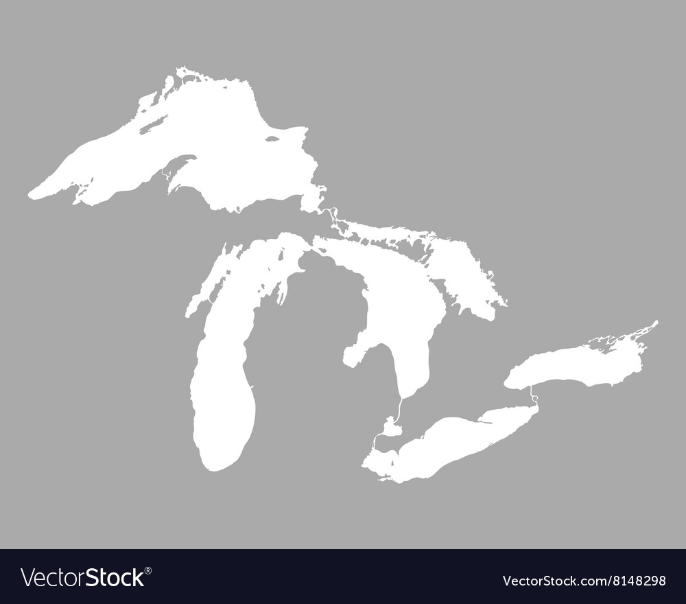 Map of Great Lakes Royalty Free Vector Image VectorStock