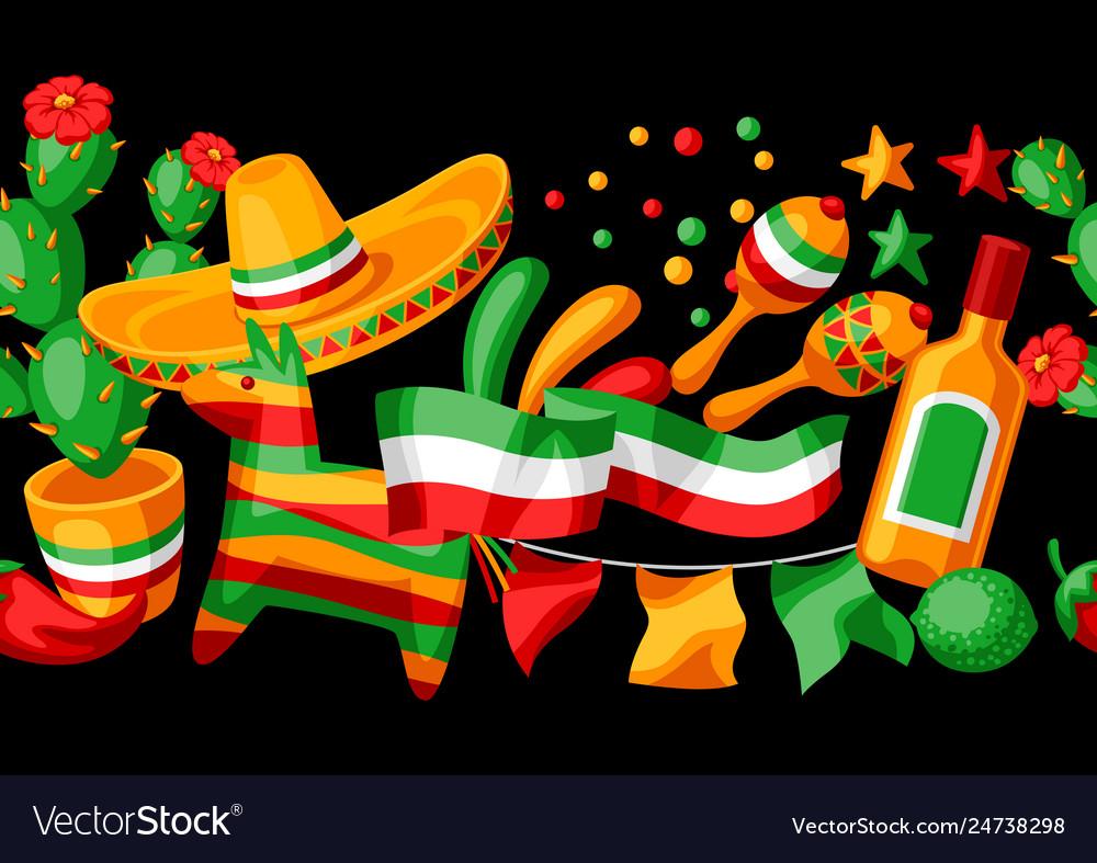 Mexican cinco de mayo seamless pattern