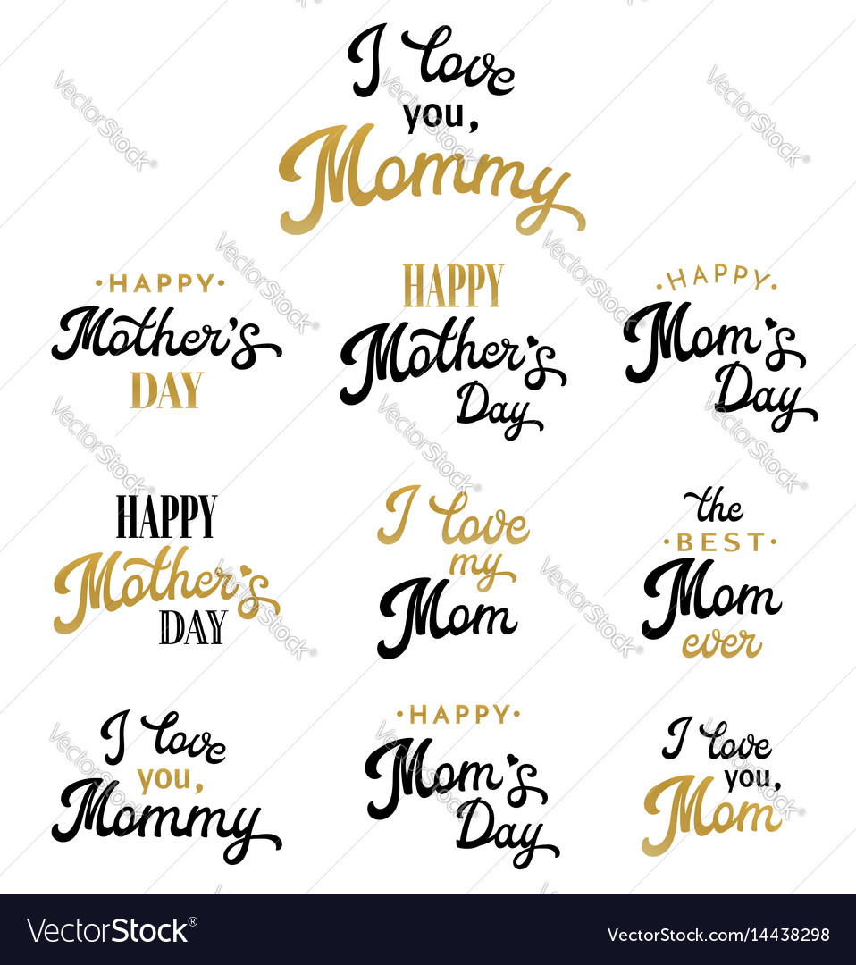 Mothers day hand lettering inscriptions set vector image