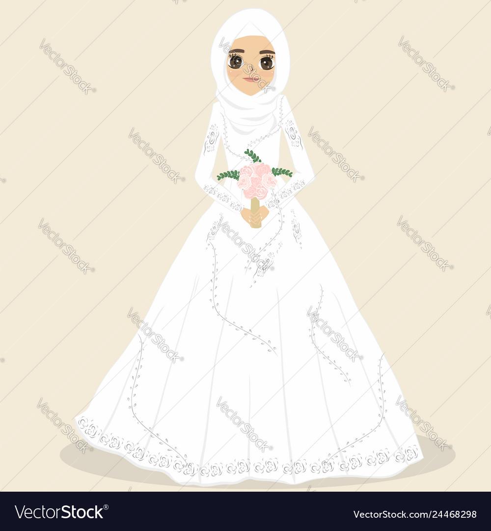 Muslim bride muslim wedding dress vector image