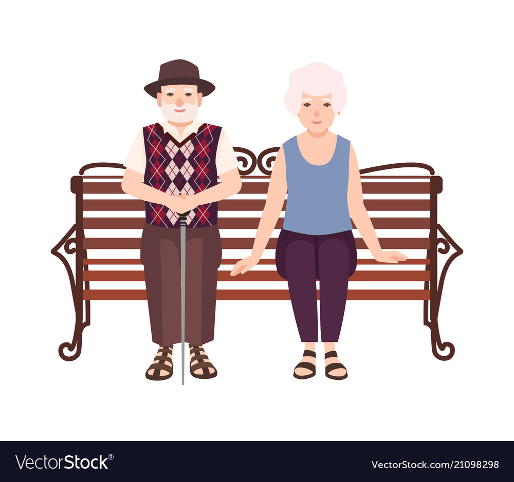 Old man and woman or grandparents sitting on bench