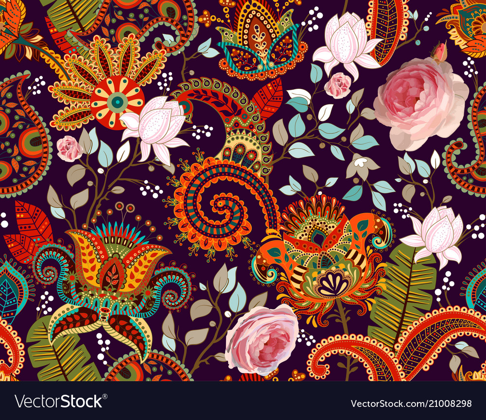 Roses pattern paisley and roses colorful