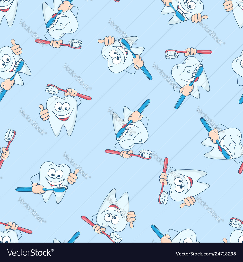 Seamless pattern with funny teeth hand drawing