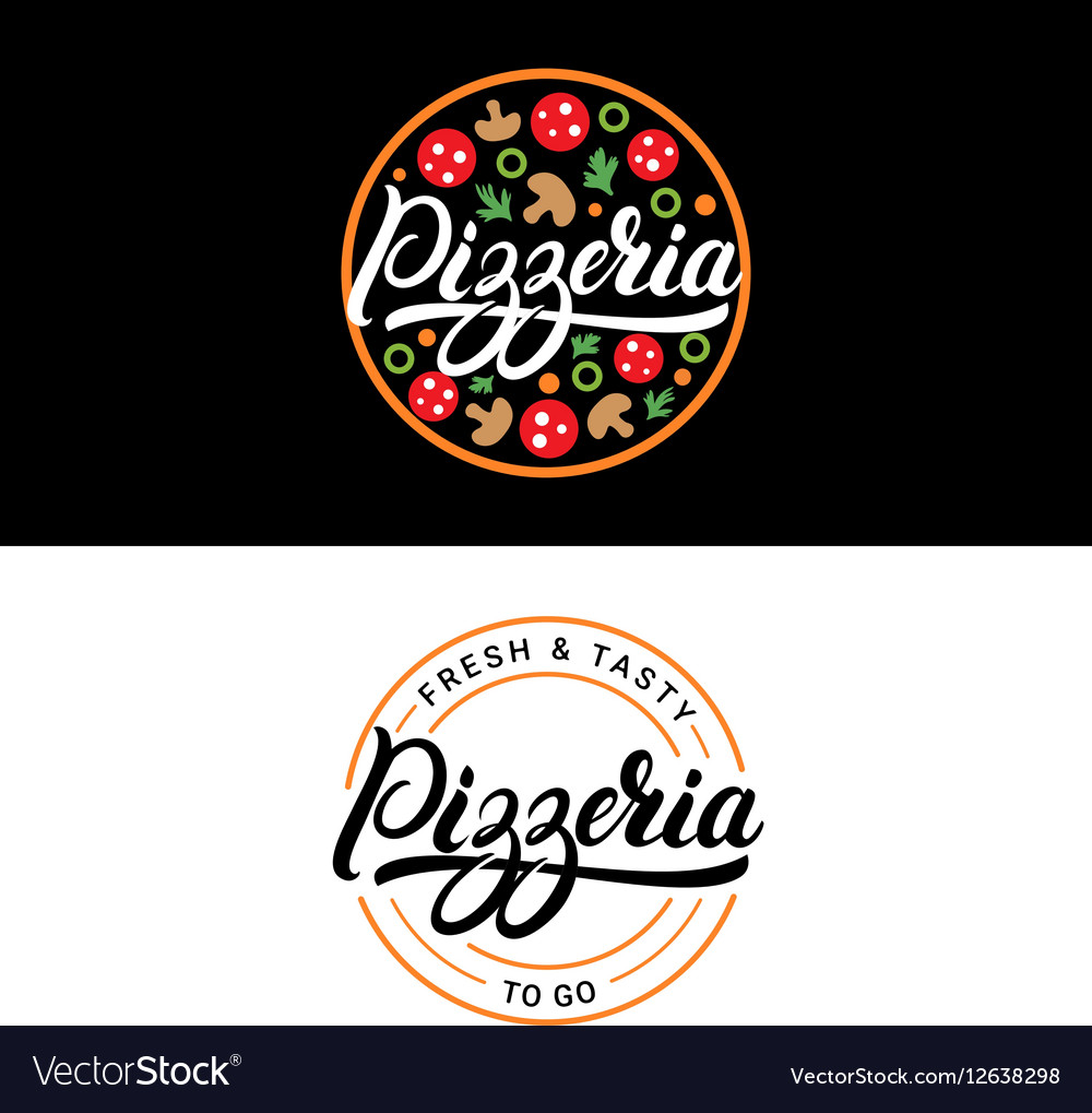 Set of pizzeria hand written lettering logo label vector image