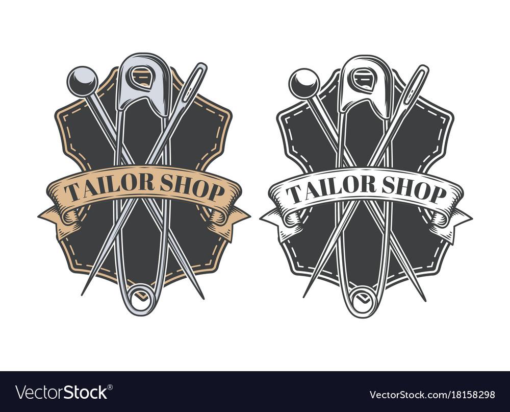 Tailor shop vintage emblem or signage