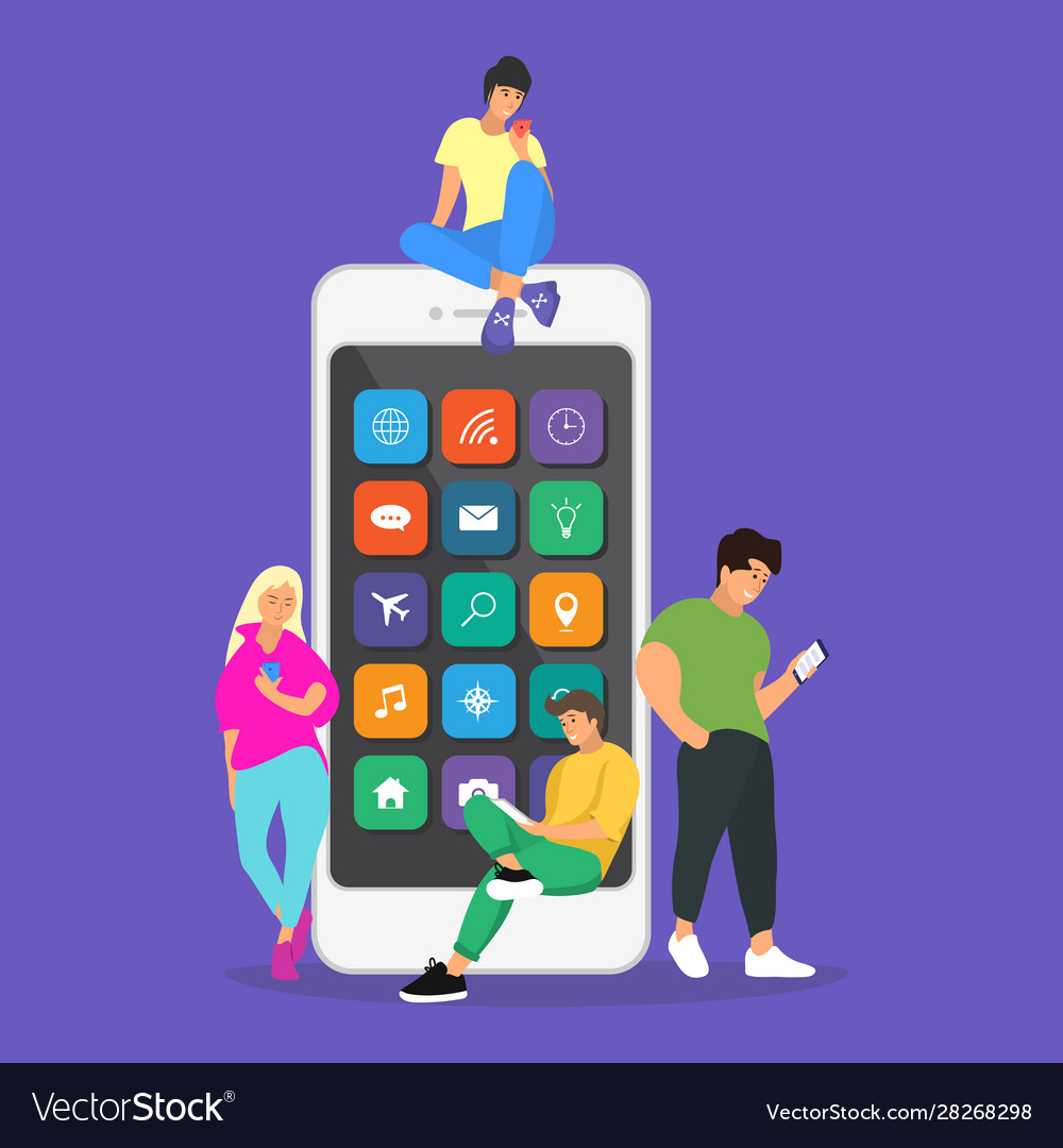 Young children are near a large smartphone and