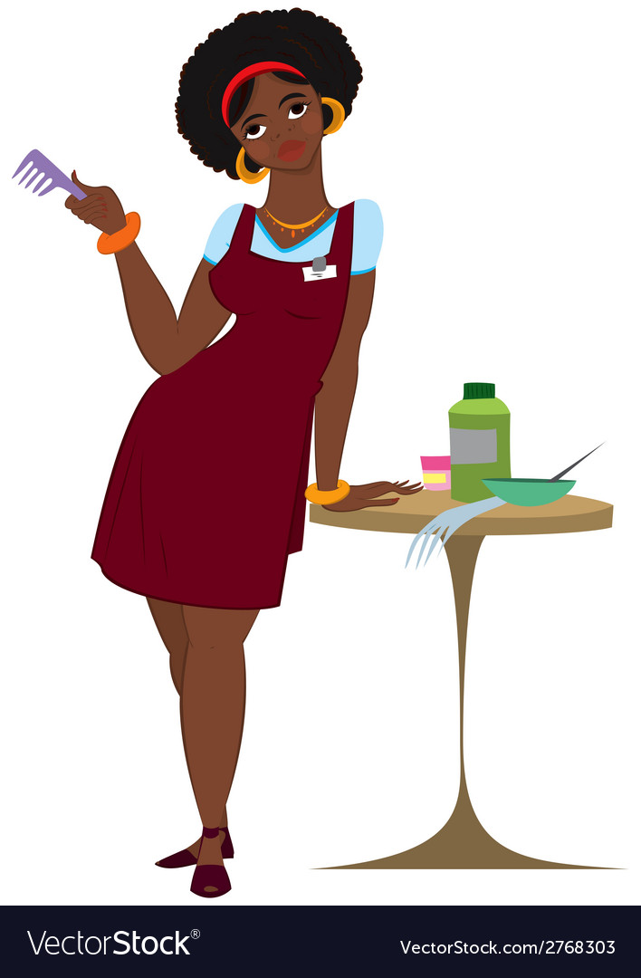 Cartoon black woman hairdresser standing in red