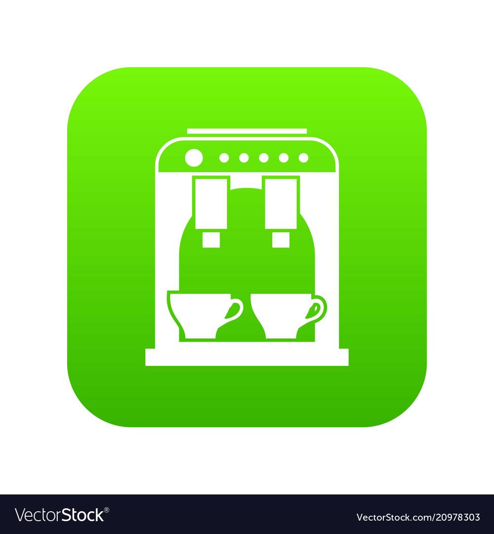 Coffee machine icon digital green