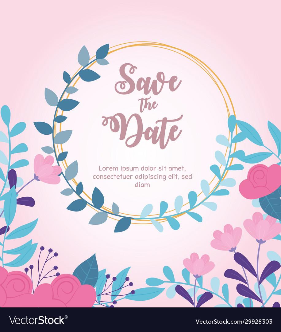 Flowers wedding save date invitation card