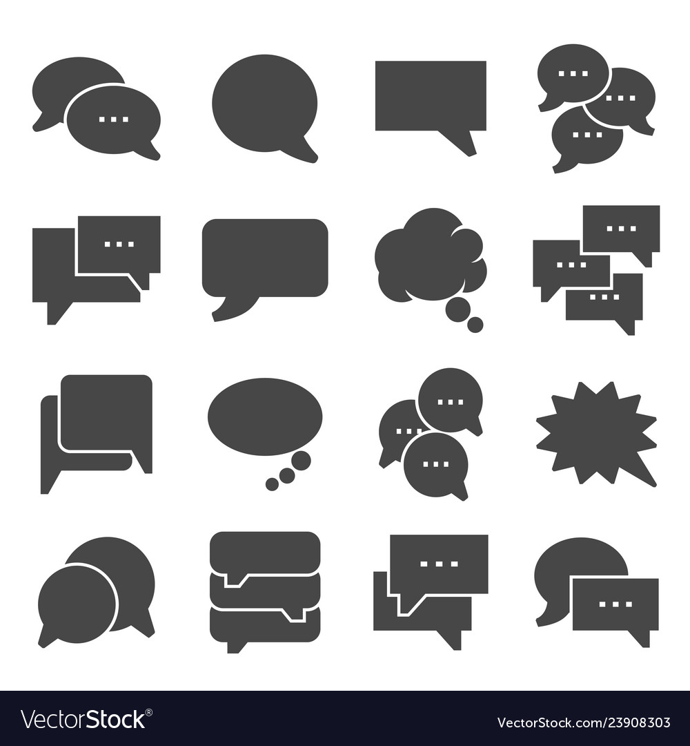Gray speech bubble icons on white background