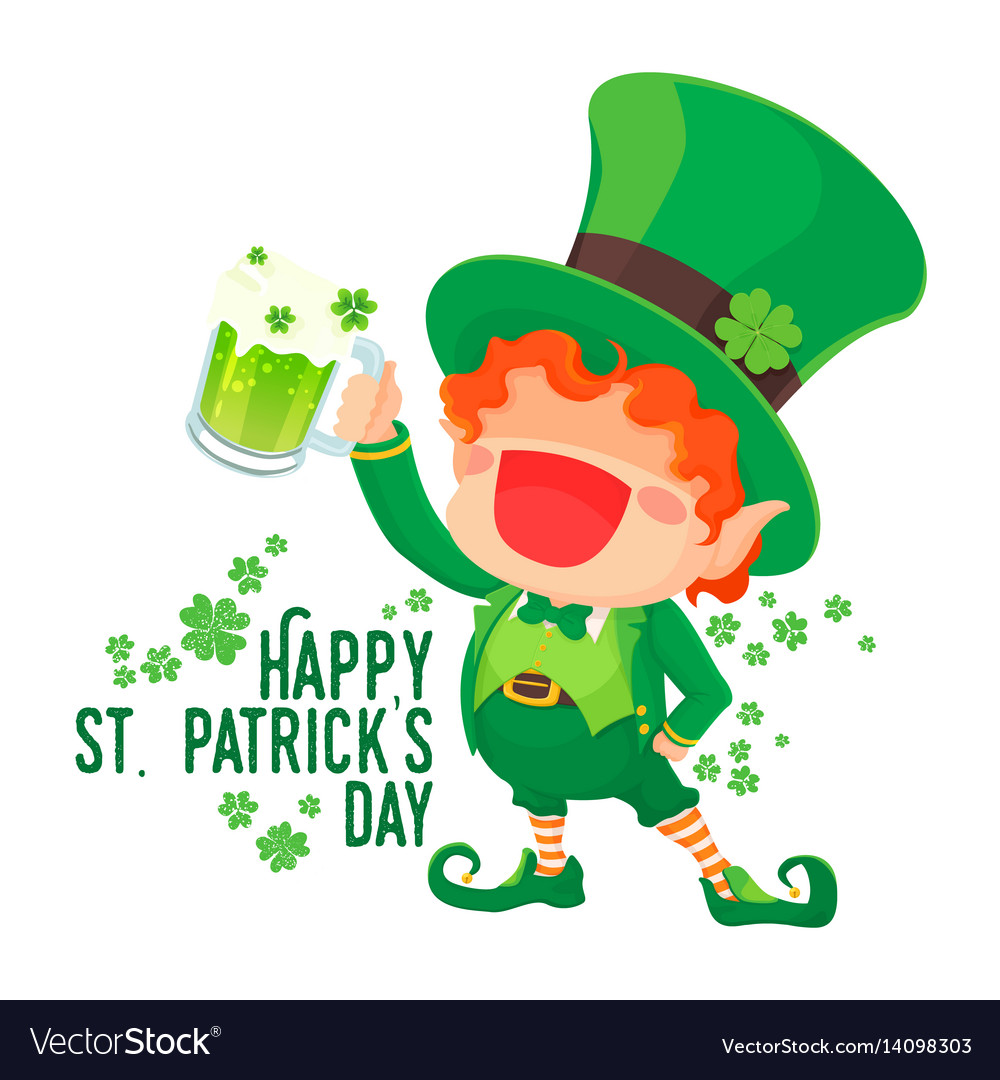Happy st patricks day leprechaun holding beer Vector Image