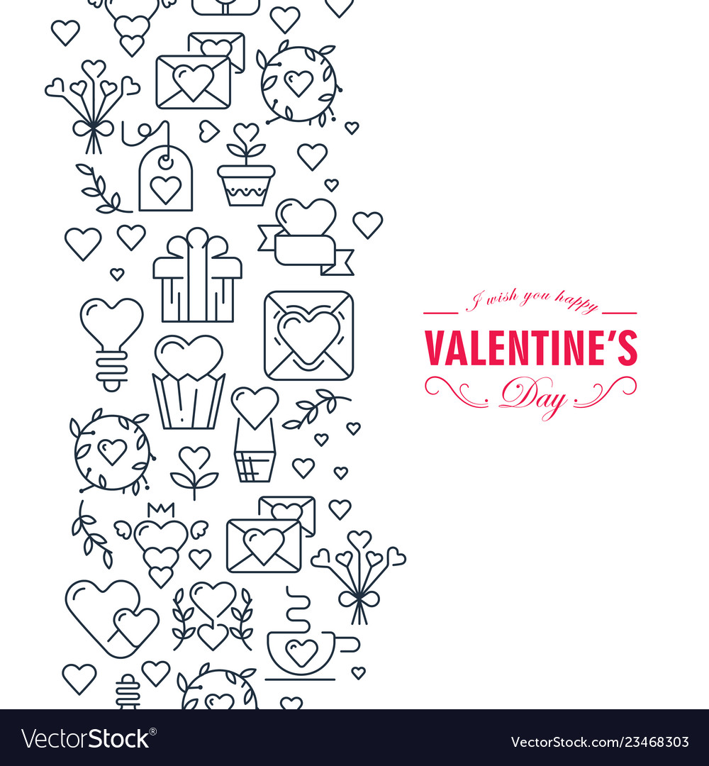 Happy valentines day decorative doodle card