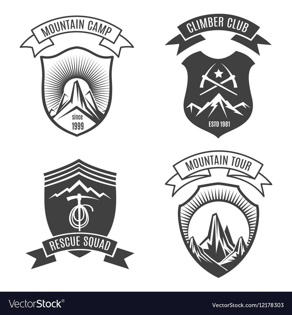 Mountains retro badges set