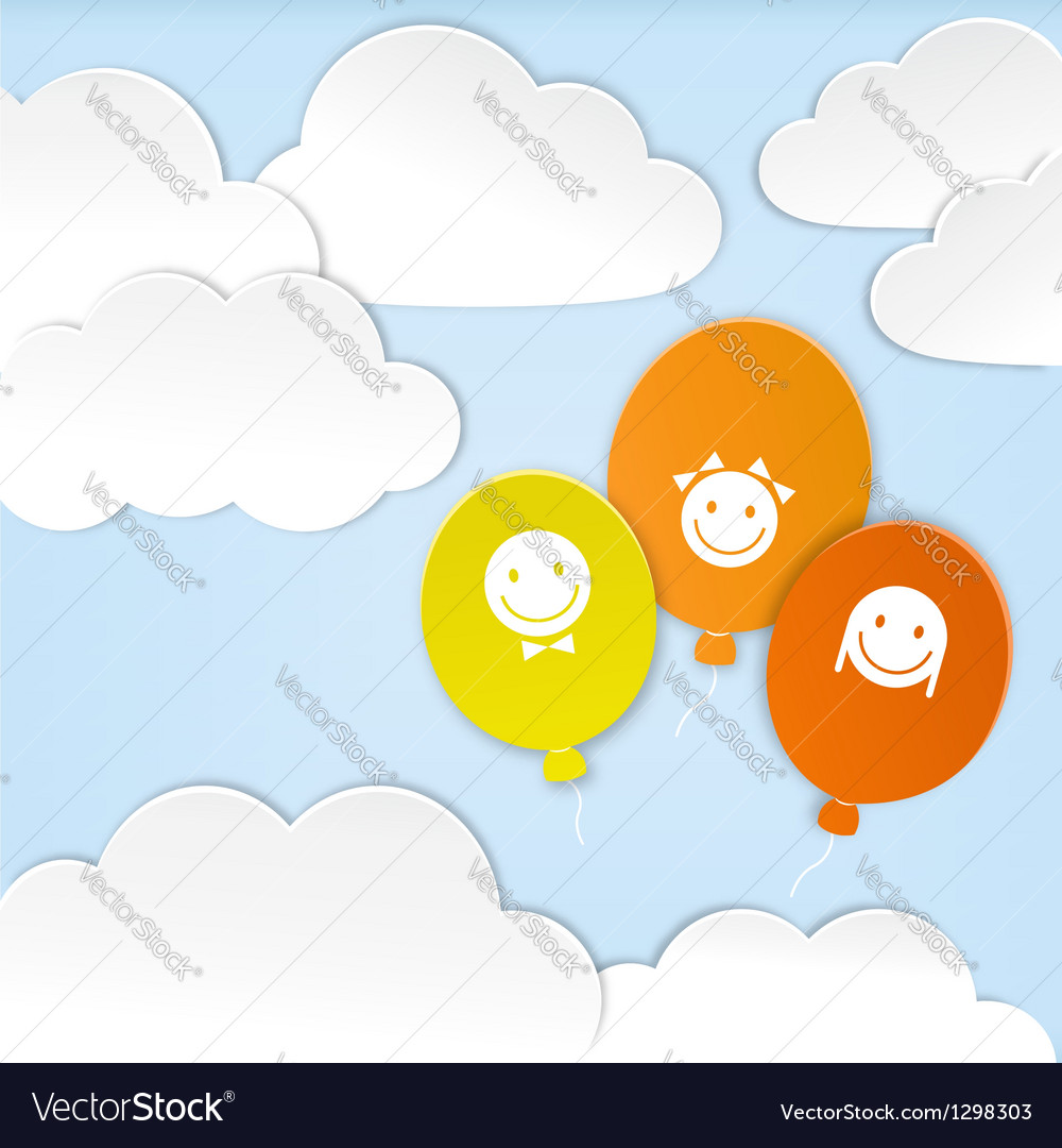 Paper clouds with balloons vector image
