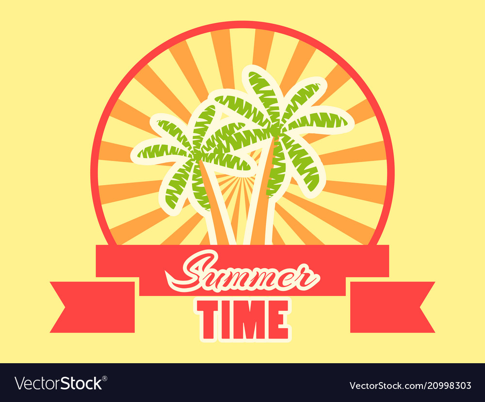 Summer time logo with fruits and ribbon rays