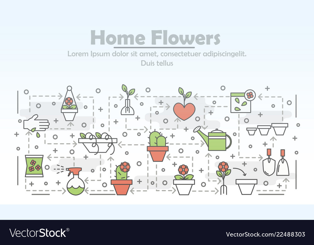 Thin line art home flowers poster banner