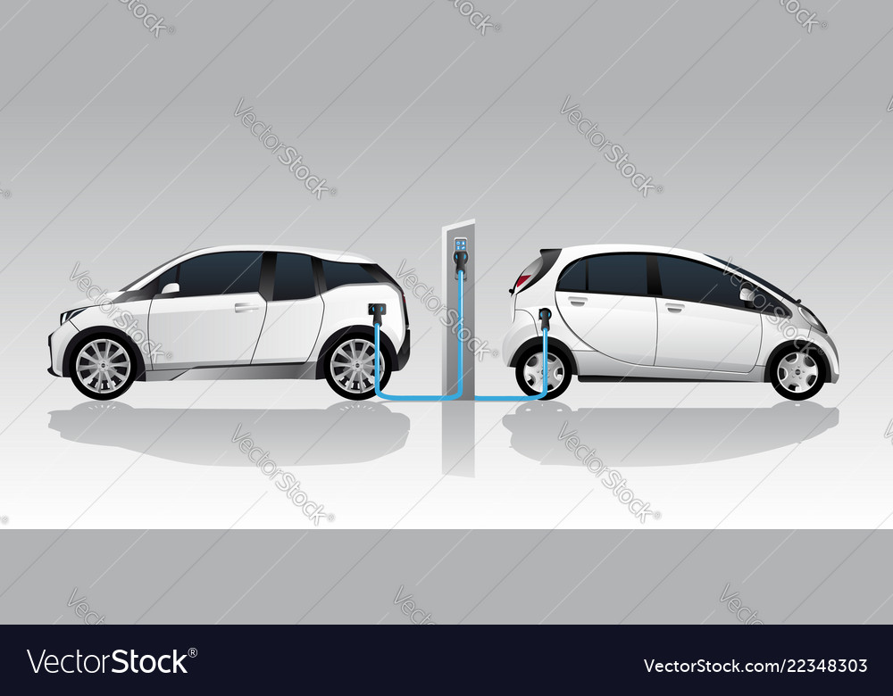 Two white electric cars