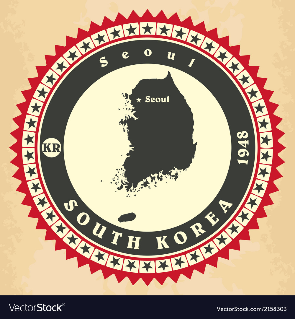 Vintage label-sticker cards of South Korea