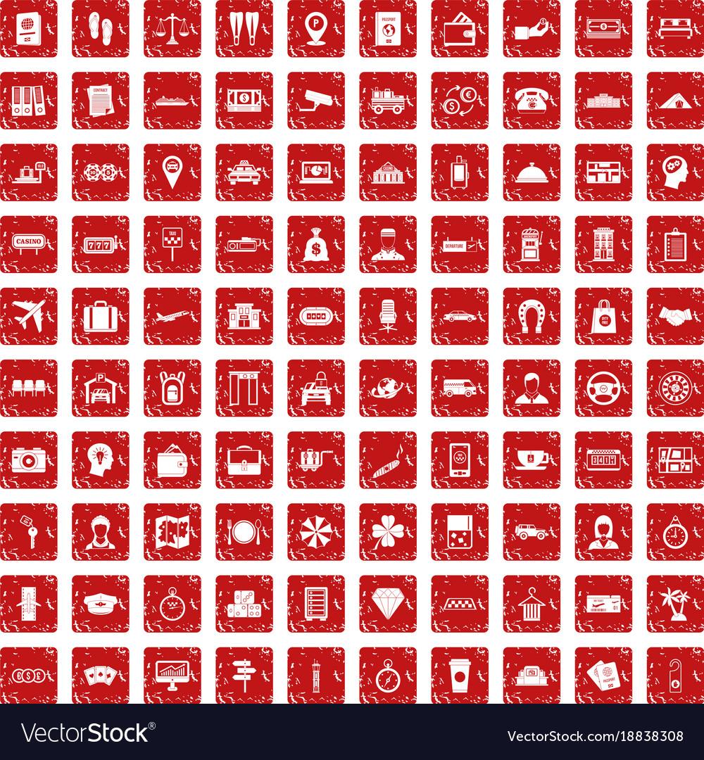 100 paying money icons set grunge red