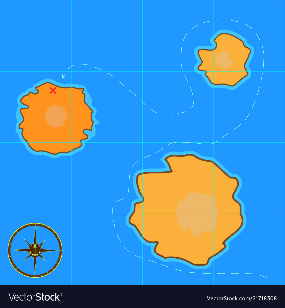 A cartoon treasure map for android games and