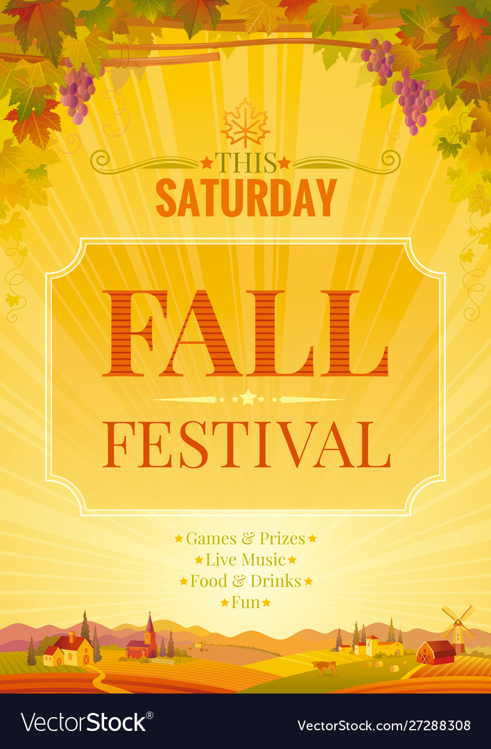 Autumn party poster fall harvest festival