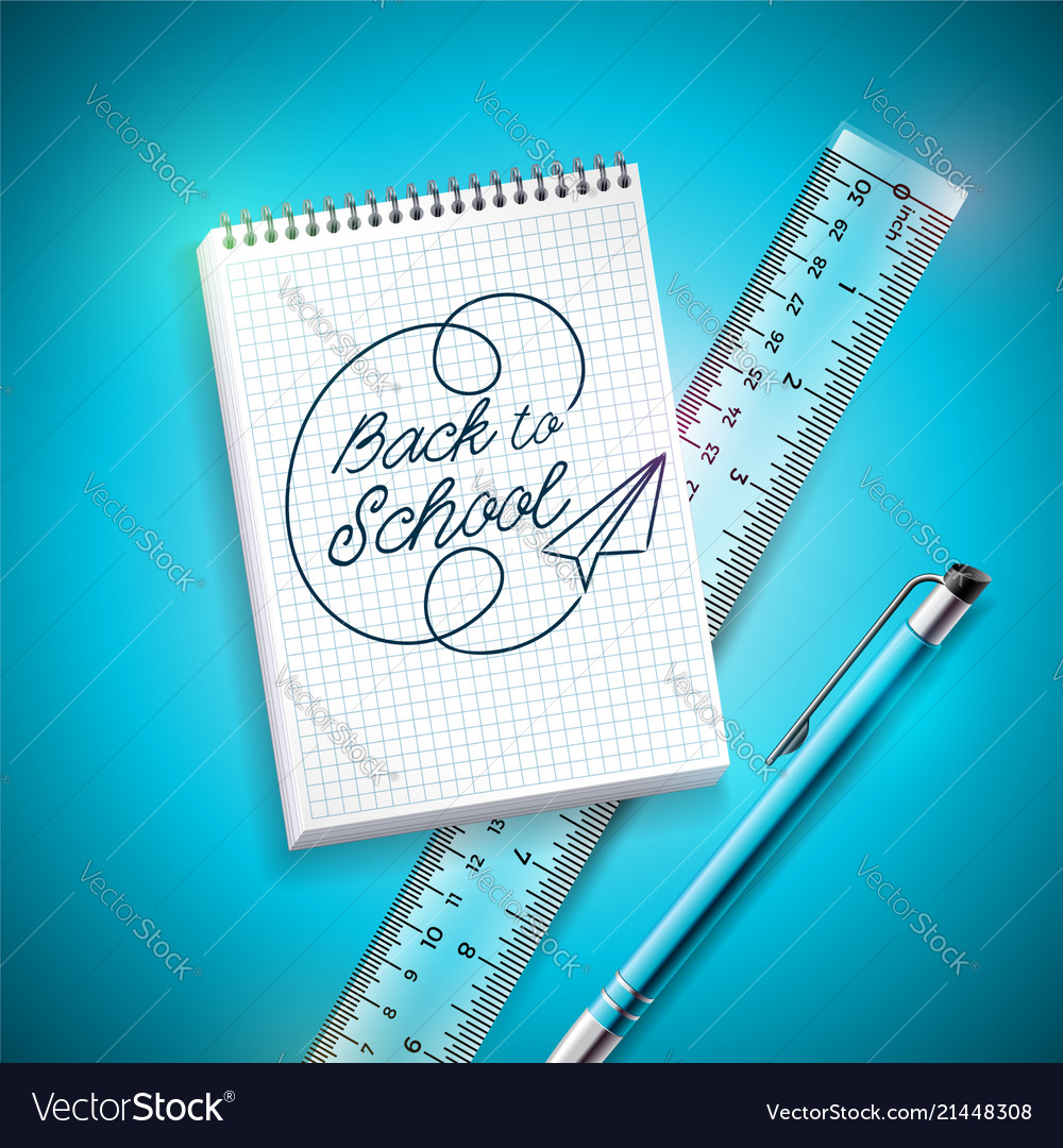 Back to school design with pen ruler and notebook