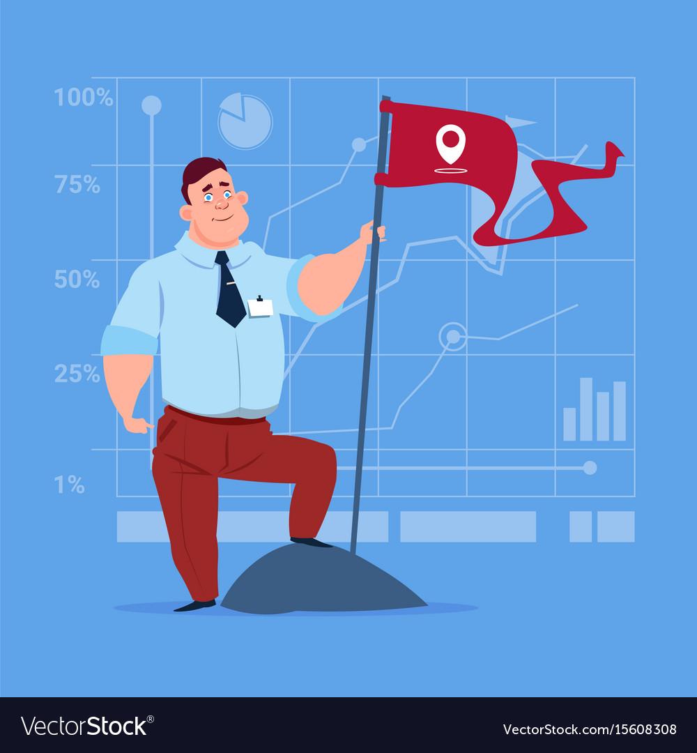 Business man hold flag successful achievement