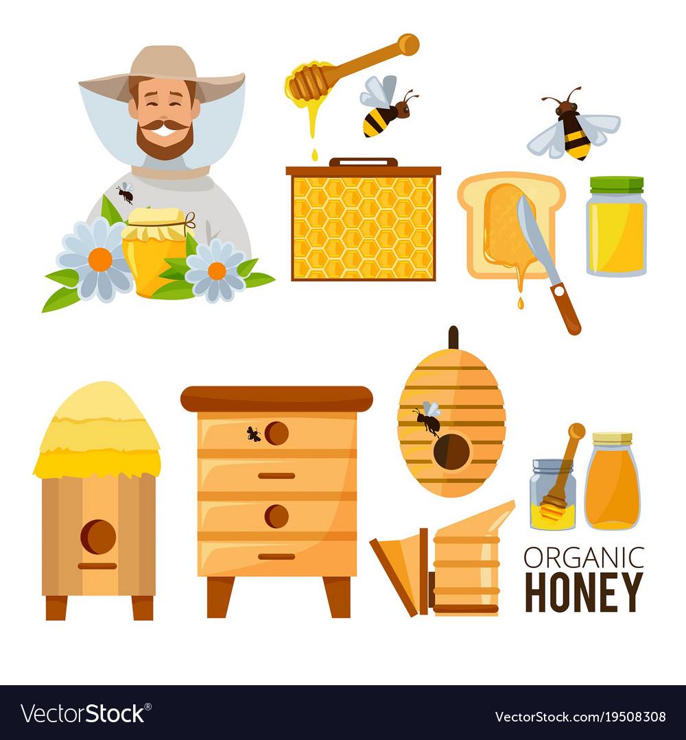 Cartoon set of beekeeper beehive
