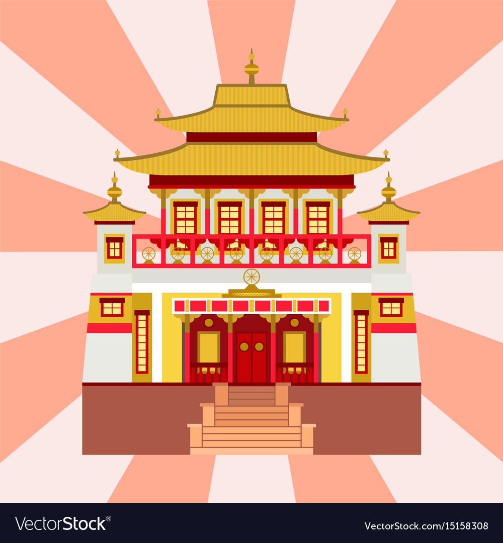 Cathedral chinese church temple traditional vector image