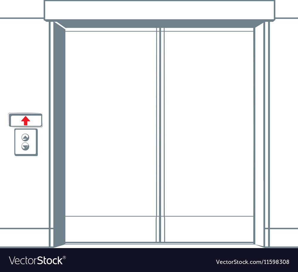 Close elevator and button in line style vector image
