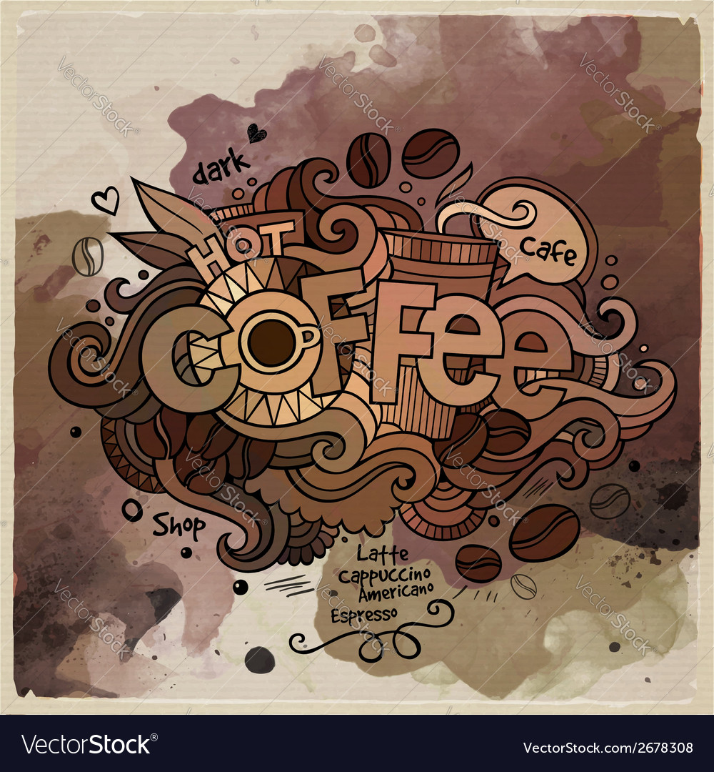 Coffee watercolor cartoon hand lettering and