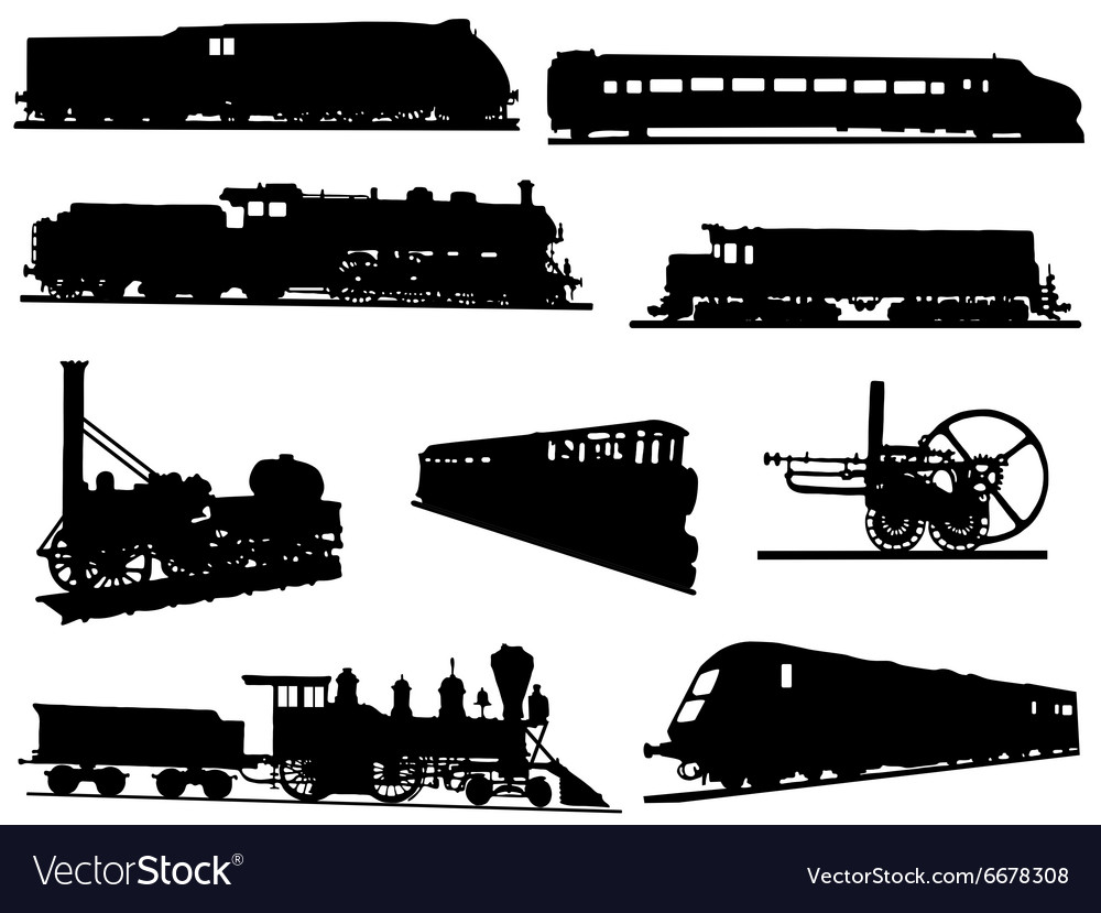 Collection of silhouettes of engines and trains vector image