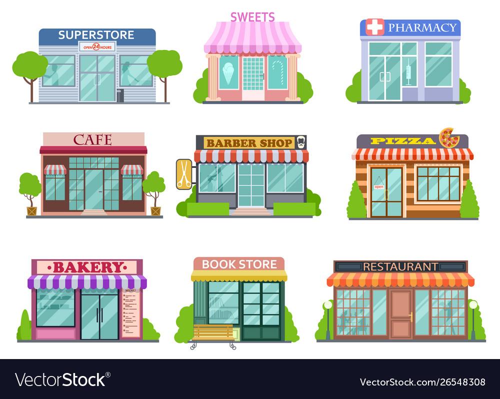 Flat shops set barber shop bookstore and