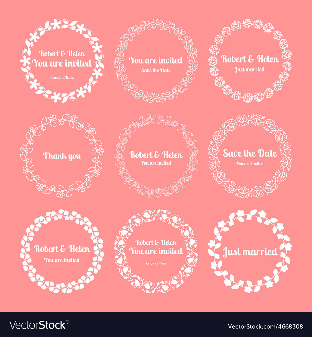 Floral wedding wreaths vector image