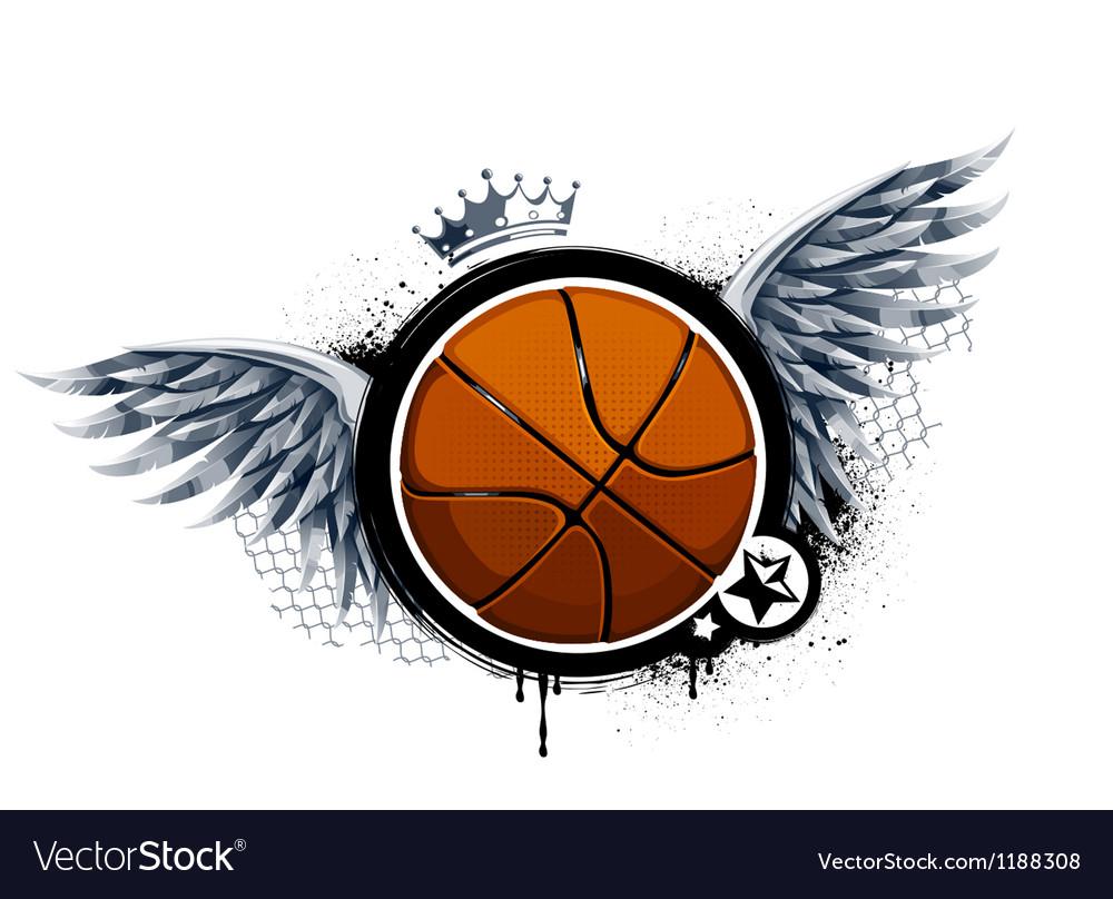 Grunge image with basketball vector image