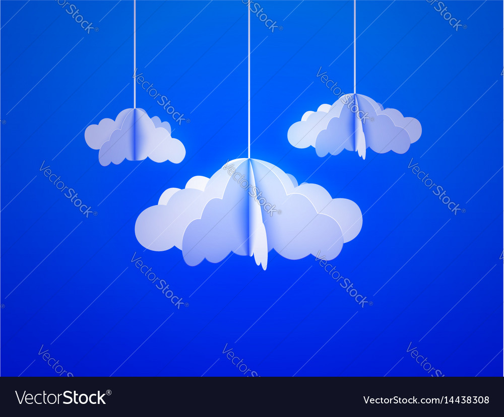 Paper cloud in origami style on the sky background
